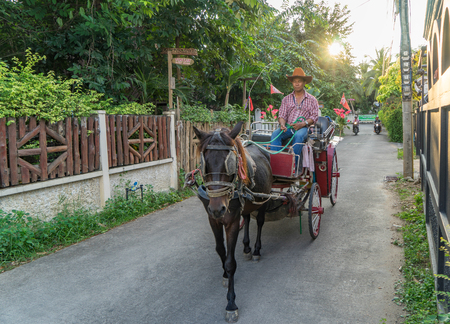 horse cart: Lampang, Thailand - October 22, 2015: A horse cart taxi service is traveling in the street of Lampang City