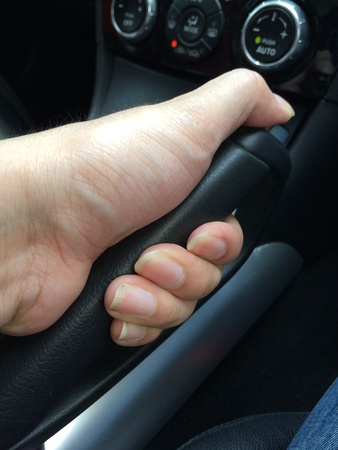 Pulling car hand brake Imagens - 76911222