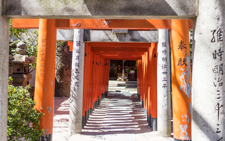 Japanese Temple shrine wooden gate Editorial