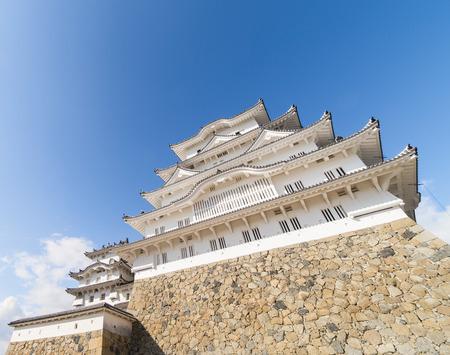 below: Himeji Castle from Below with Copy space