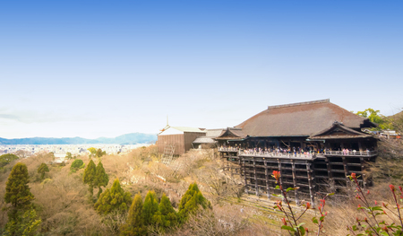 dera: Kyoto, Japan - March 13, 2016: Tourists are crowded at Kiyomizu Dera in late winter season. Editorial
