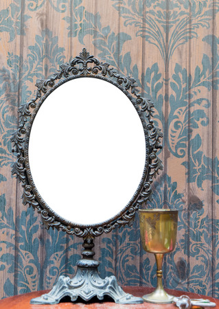 antique mirror: Empty Vintage antique mirror set for photo frame or pictures. Stock Photo