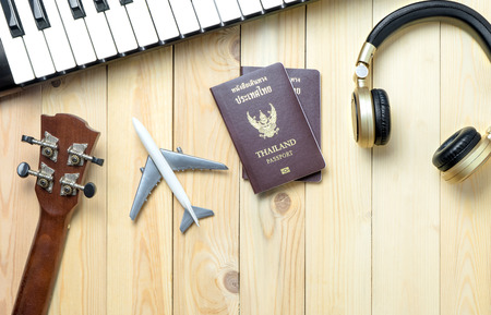 touring: Musician travel objects summer vacation preparation with copy space. Stock Photo