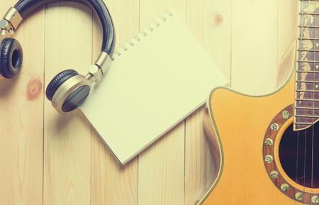空注本ページとのセッションを書き込む音楽 写真素材