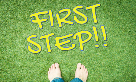 bared: First step bared foot on green grass floor