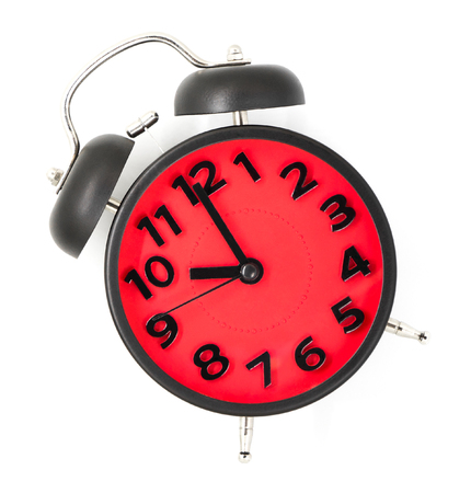 morning noon and night: Red clock pointing at 20 white background. Stock Photo