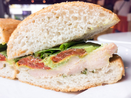 wasabi: Chicken Avocado with Wasabi Sandwiches lunch cafe Stock Photo