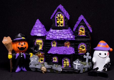 ghost house: Halloween Ghost house toy with black background