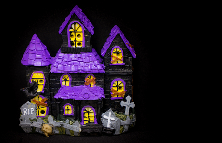 ghost house: Toy Ghost house with copy space for halloween Stock Photo