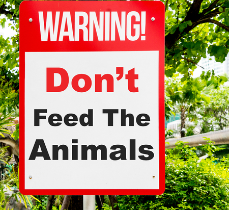 Dont feed the animal warning sign with nature background.