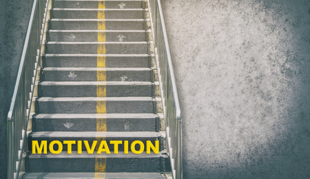 goal achievement: The stair step of motivation. Business concept on motivation to walk up to your success. Stock Photo