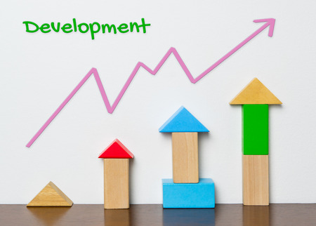 increased: Child Development graph with toy block concept