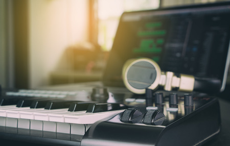 Music Keyboard controller for Computer Music producer Stock Photo - 70856414