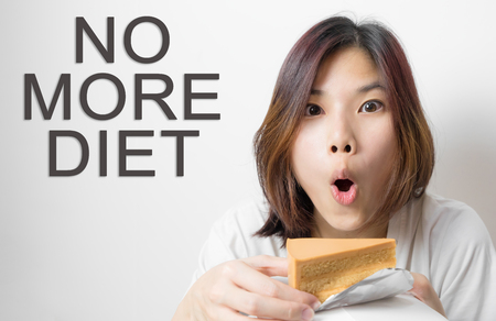 Asian girl with no more diet text concept