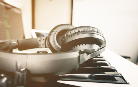 Black Headphone on Computer Music production set Stock Photo - 73861633