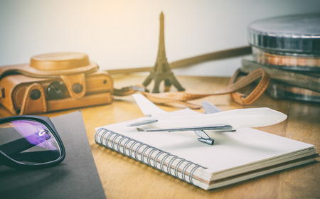 Europe travel blogger vintage equipments on wooden desk