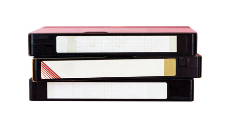 Video Tape with blank label isolated on white Banco de Imagens