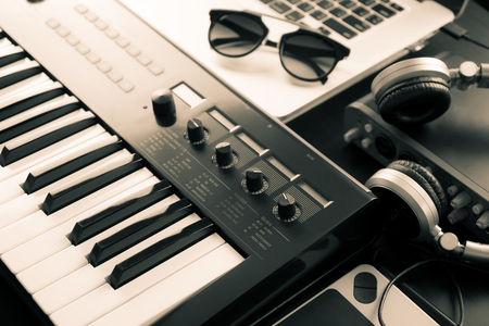 Synthesizer Keyboard on Computer music studio set up Stock Photo