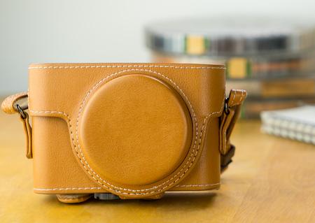 Brown vintage Leather camera case closed up shot
