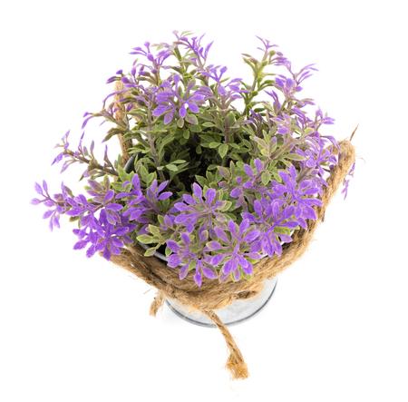 Purple Plastic flower in a metal bucket isoalted on white