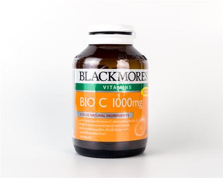 Bangkok, Thailand - April 22, 2017: A bottles of Blackmores vitamin C isolated on white backgorund.