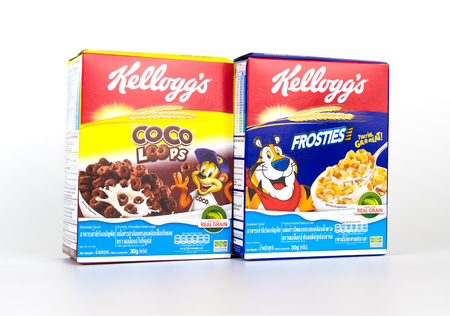 Bangkok, Thailand - April 22, 2017: 2 boxes of Kelloggs breakfast cereal isolated on white.