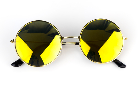 Yellow shade sunglasses isolated on white background