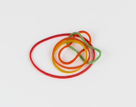 bunch of Rubber bands isolatedo on white backgorund Stock Photo