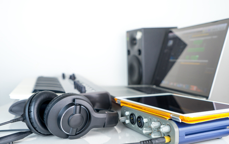 Computer music work station with headphone and tablet