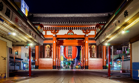 Tokyo; Japan - May 2; 2017: Sensoji shopping street is closed and the red gate is lighten up at night.