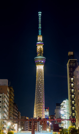 Tokyo, Japan - May 2, 2017: The Toyko Skytree is lighten up at night.