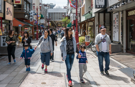 Tokyo, Japan - May 4, 2017: People are traveling in Asakusa Shopping district.