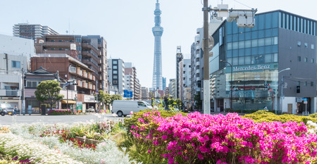 Tokyo, Japan - May 2, 2017: Road Intersection in Sumida ward that lead to Tokyo Skytree