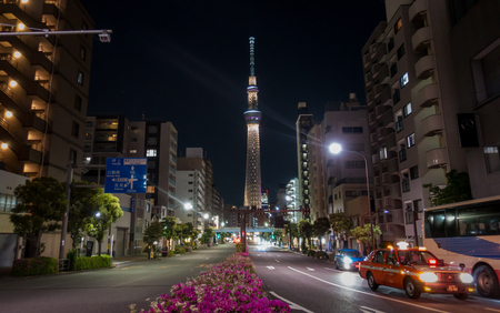 Tokyo, Japan - May 2, 2017: Road in Sumida ward that lead to Tokyo Skytree Editorial