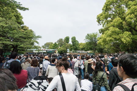 Tokyo, Japan - May 3, 2017: Locals people are queue up to enter Ueno Zoo on Golden week holiday.