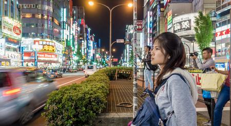 Tokyo, Japan - May 5, 2017: Tourist are traveling in Shinjuku Shopping district. Editorial