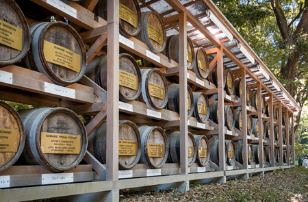 Tokyo, Japan - May 5, 2017: The Wooden wine barrels storage in Meiji Shrine park. Editorial