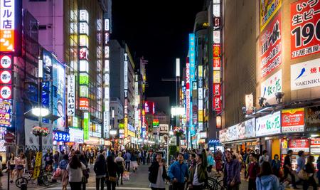 Tokyo, Japan - May 5, 2017: People are gathering at Shinjuku shopping district at night. Editorial