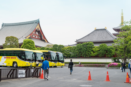 Tokyo, Japan - May 1, 2017: Buses is parking in the parking area of Sensoji shrine.