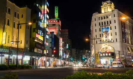 Tokyo, Japan - May 2, 2017: Asakusa Ekimise Shopping stores is lighten up at night. Editorial