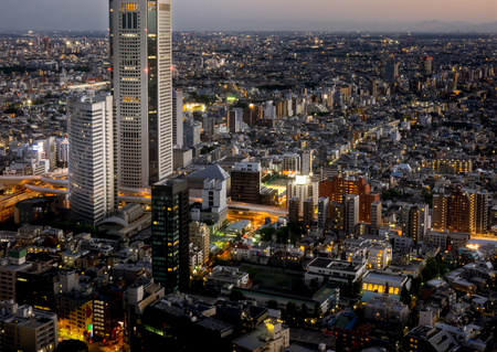 Shinjuku Skyscrapers aerial view lighten up at night