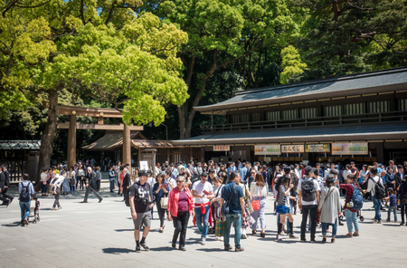 Tokyo, Japan - May 5, 2017:  Tourists are gathering at Meiji Shrine souvenir shop