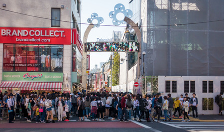 Tokyo, Japan - May 5, 2017: Thousand of people are getting in to Takeshita street on Golden week holiday.