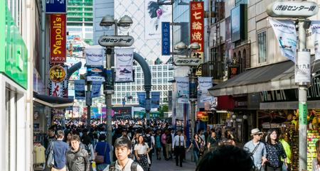Tokyo, Japan - May 5, 2017: people are walking in Shibuya shopping street. Editorial