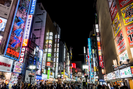 Tokyo, Japan - May 5, 2017: People are traveling in Shinjuku Shopping district.