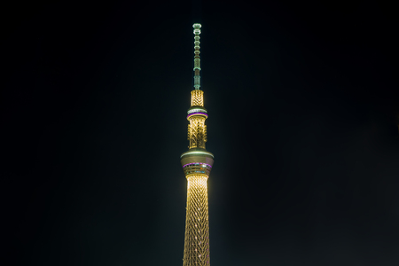 Tokyo, Japan - May 2, 2017: Tokyo Skytree is lighten up at night.
