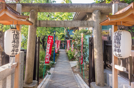 Tokyo, Japan - May 8, 2017: The Stone gate passage for Toshogu shrine in Ueno park. Editorial