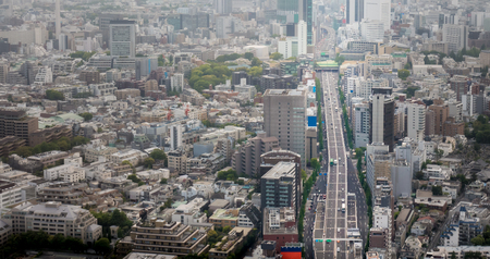 Tokyo Skyscrapers and Highways from Aerial view.