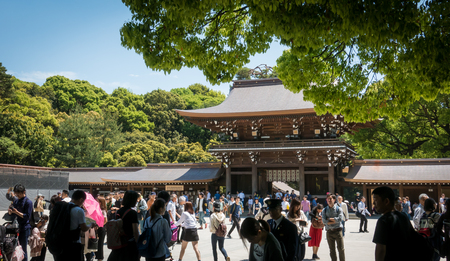 Tokyo, Japan - May 5, 2017: Tourists are visiting Meiji Shrine in Harajuku.