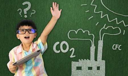 boy holding raise his hand for global warming